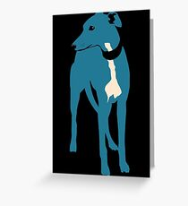Blue grey whippet Greeting Card