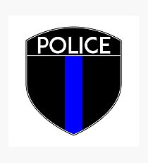 POLICE COPS THIN BLUE LINE SUPPORT CREST LAW ENFORCEMENT SHERIFF Photographic Print