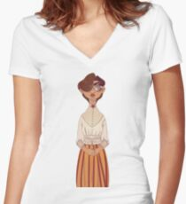 Victorian Women's Fitted V-Neck T-Shirt