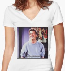 nervous fake laughter Women's Fitted V-Neck T-Shirt
