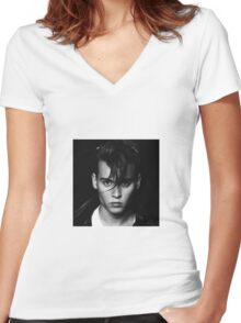 Johnny Depp Women's Fitted V-Neck T-Shirt