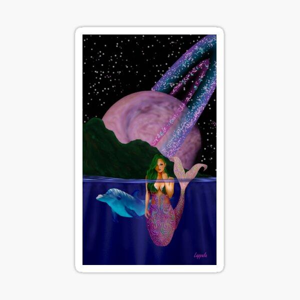 Mermaid in a Pink Universe Sticker
