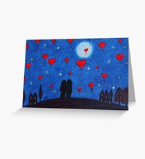 Wedding: Romantic Couple with Hearts, Moon and Stars Greeting Card