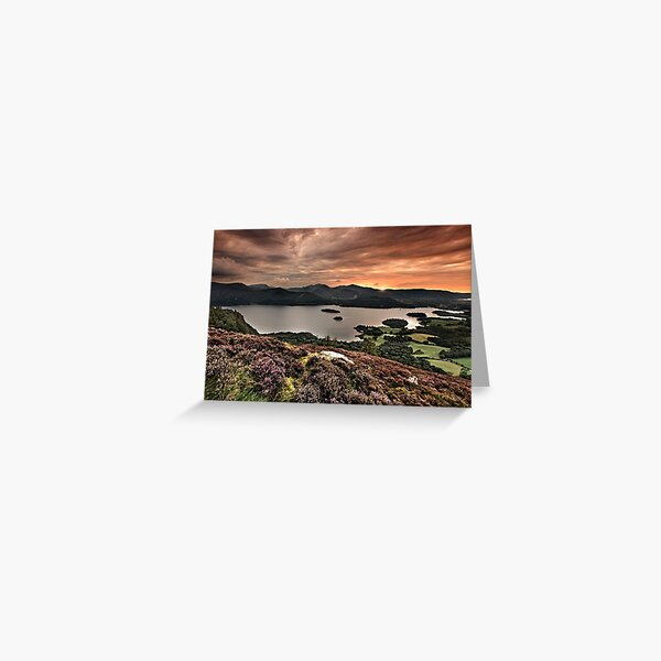 Sunset over Derwentwater from Walla Crag English Lake District Greeting Card