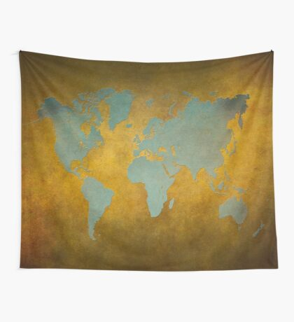 World map gold green Wall Tapestry
