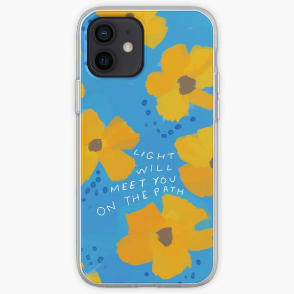 Light will meet you on the path - inspirational quote with blue and yellow florals - flower art by Morgan Harper Nichols iPhone Soft Case