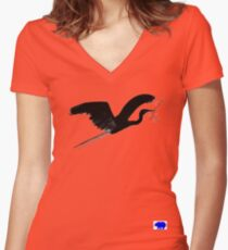 Blue Heron with twig  Women's Fitted V-Neck T-Shirt