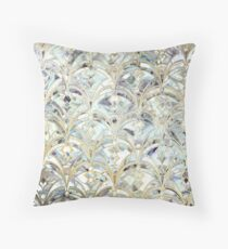 Pale Bright Mint and Sage Art Deco Marbling Throw Pillow