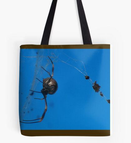 a spider and her dinner ...  Tote Bag