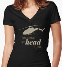 Helicopter T-Shirt - You make my head spin Women's Fitted V-Neck T-Shirt