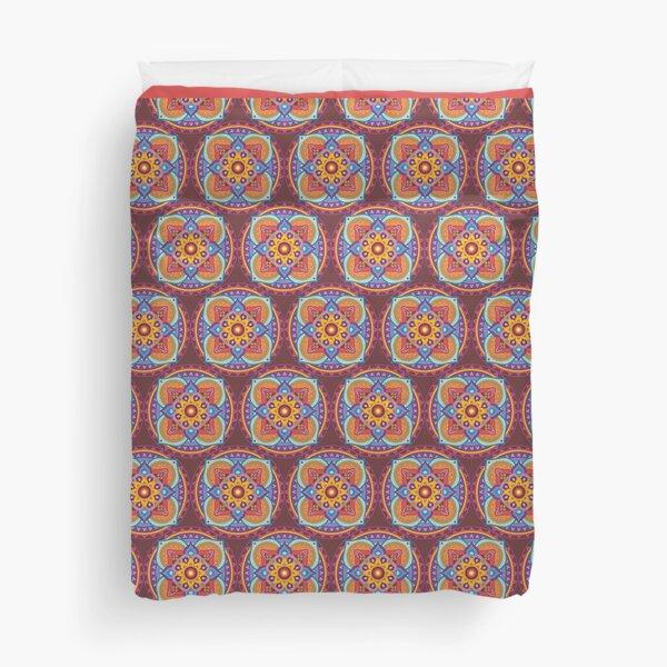 Textile pattern mandala 4 castles Duvet Cover
