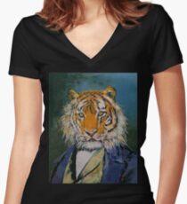 Gentleman Tiger Women's Fitted V-Neck T-Shirt