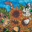 Sunflower Cats by kewzoo