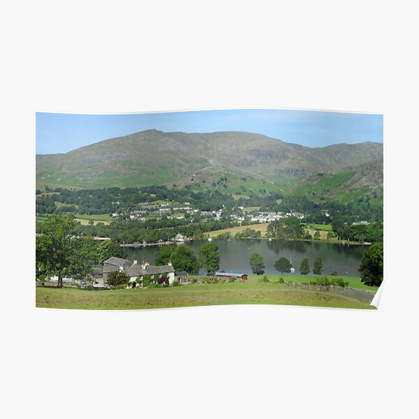 Bank Ground Farm (Holly Howe), Coniston Water & Coniston Old Man, Lake District National Park, Cumbria, UK Poster