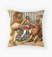 The Magnificent Lion Tmer Throw Pillow