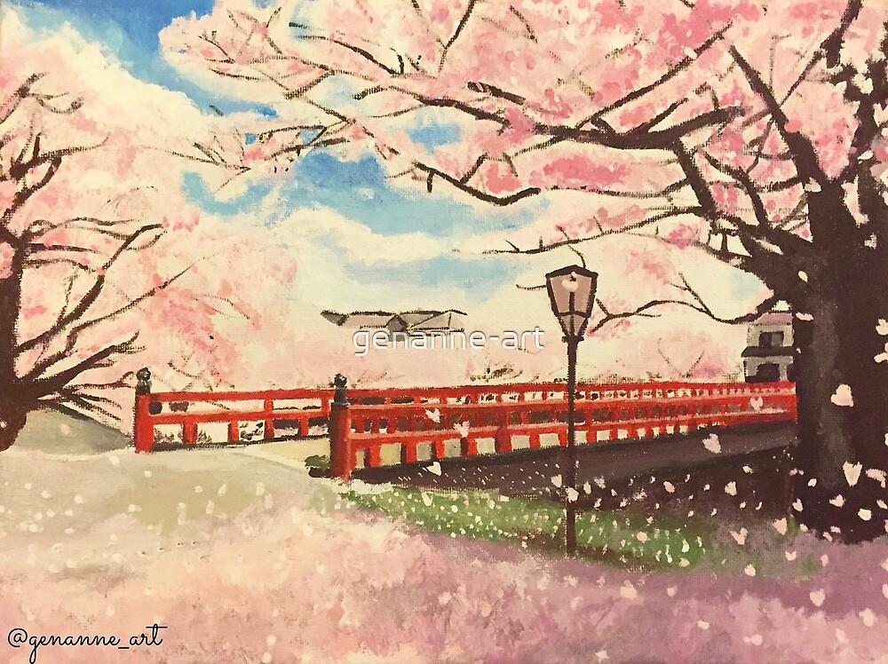 Japanische Kirschblüten-Malerei von genanne-art