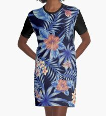 Tropical Leave pattern 3 Graphic T-Shirt Dress