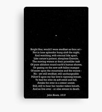 """Bright Star"" - a sonnet by John Keats; especially good as a card. Leinwanddruck"