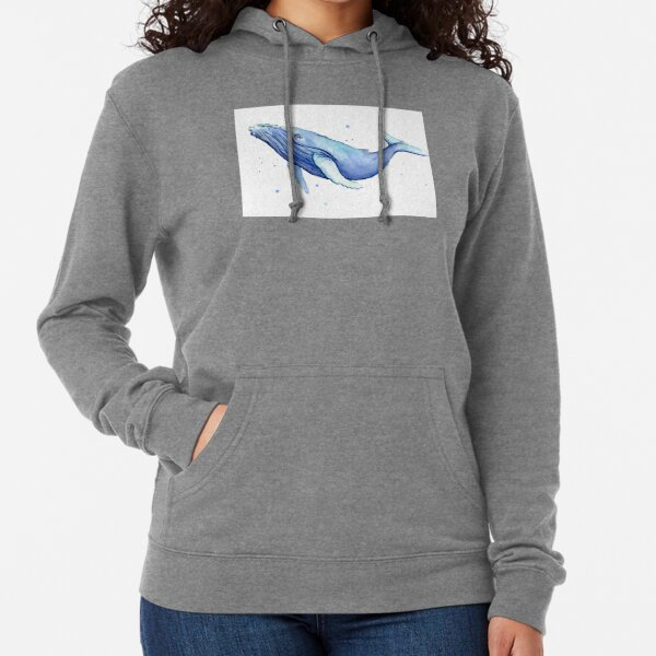 Humpback Whale Blue Watercolor Painting Lightweight Hoodie