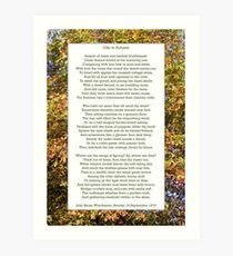 """Ode to Autumn"" by Keats, especially good as a card. Art Print"