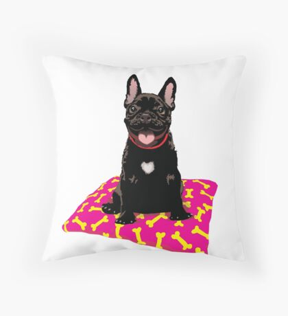 I heart frenchies Throw Pillow