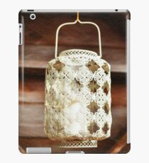 Old-fashioned lacy white lantern. Textured background. iPad Case/Skin