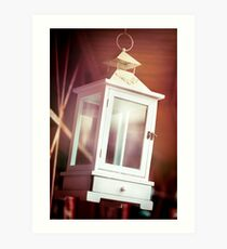 Old-fashioned classic white lantern. Art Print