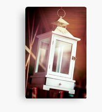 Old-fashioned classic white lantern. Canvas Print