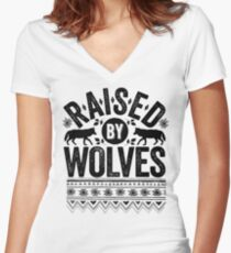 Raised By Wolves {Black + White} Women's Fitted V-Neck T-Shirt