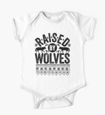 Raised By Wolves {Black + White} Short Sleeve Baby One-Piece