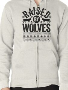 Raised By Wolves {Black + White} Zipped Hoodie