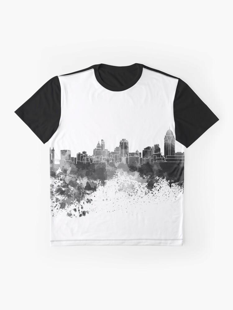 Alternative Ansicht von Cincinnati-Skyline im schwarzen Aquarell Grafik T-Shirt