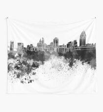 Cincinnati skyline in black watercolor Wall Tapestry