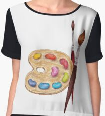 palette with paints and two brushes  Women's Chiffon Top