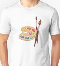 palette with paints and two brushes  Unisex T-Shirt