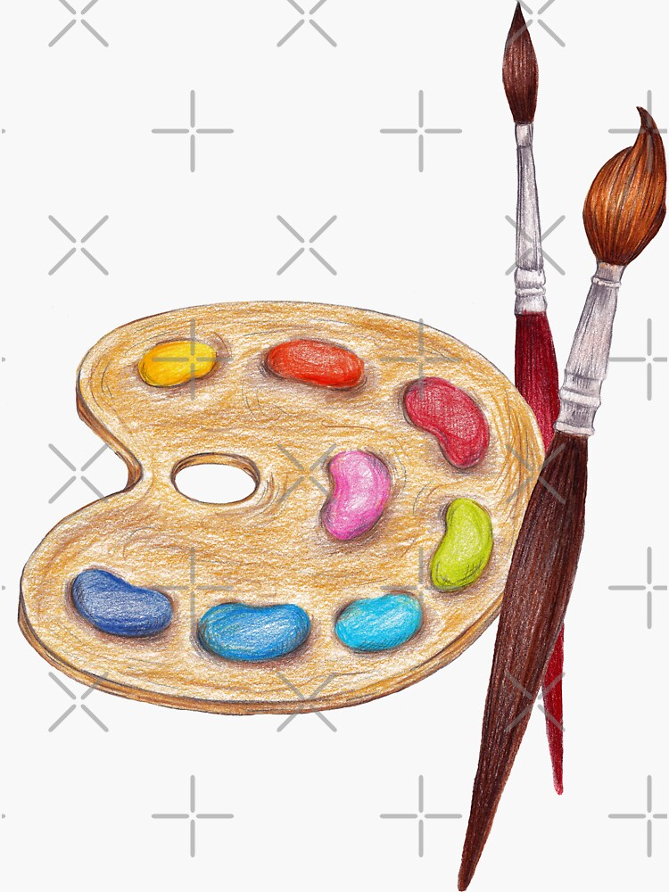 palette with paints and two brushes  by lisenok