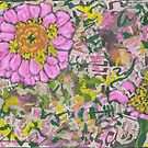 Two pink flowers on a graffiti wall by Laurence Mergi Rapoport