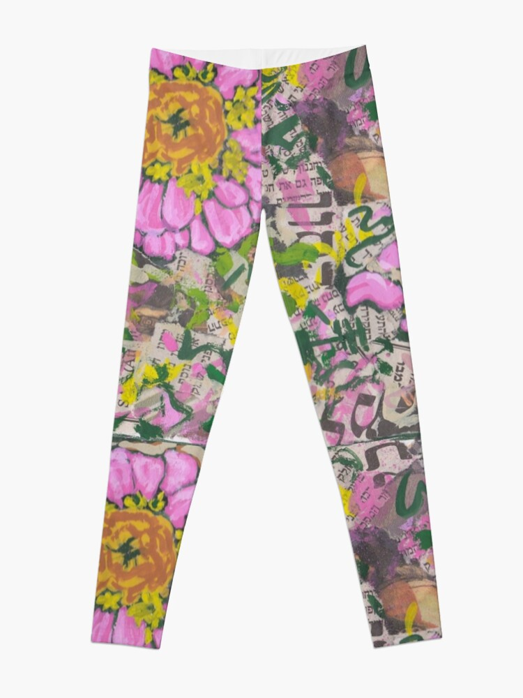 Alternate view of Two pink flowers on a graffiti wall Leggings