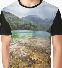 Lake in mountains, in a rainy day Graphic T-Shirt