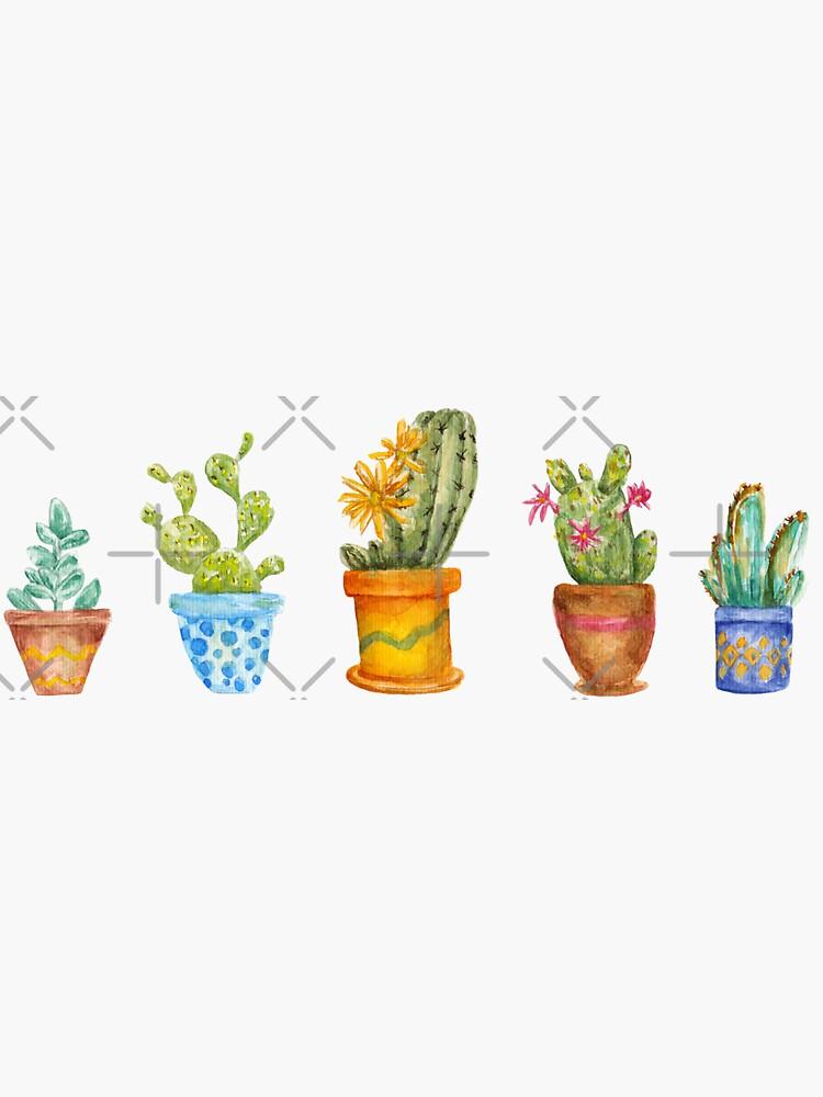 cactus line. watercolor by lisenok