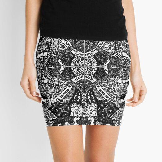 Loops - Black & White Abstract Zentangle Lineart  Mini Skirt