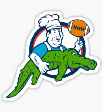 Chef Twirling Football Carry Alligator Circle Retro Sticker