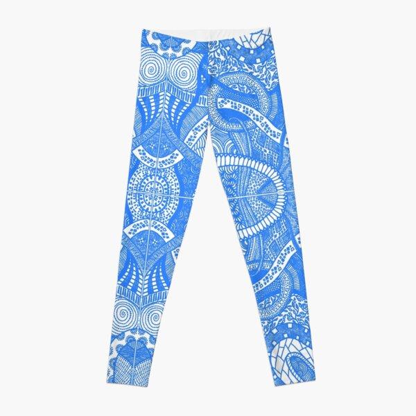 Blue Loops - Abstract Lineart Zentangle Seamless Pattern Leggings