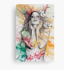 The Withering Spring - magnolia flower girl nude portrait Metal Print