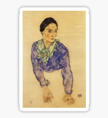 Egon Schiele - Portrait Of A Woman With Blue And Green Scarf 1914 Sticker