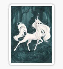 White Unicorn in the Woods Sticker