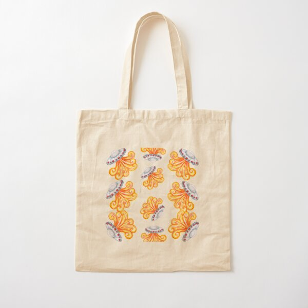 Flying Saucers Watercolor Cotton Tote Bag