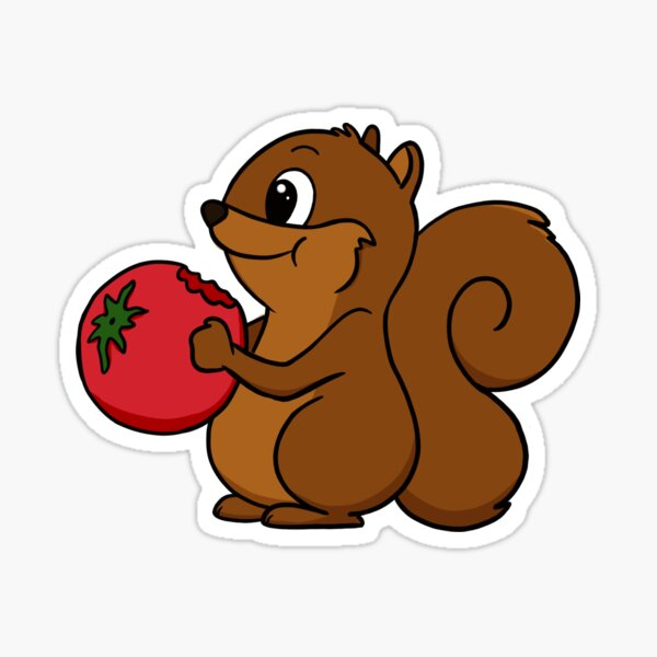 Squirrel Eating a Tomato Sticker