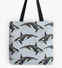 Orca on blue Tote Bag
