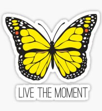 Live The Moment Inspirational Girly Butterfly Design Sticker